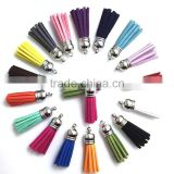Mix Color Suede Tassel For Keychain Cellphone Straps Jewelry Charms, Leather Tassels With Plated Caps Diy Accessories