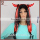 Cheap Long Straight Fluffy Halloween Cosplay Party Devil Horns Wigs