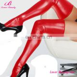 Wholesale sexy red leather tube compression stockings for women