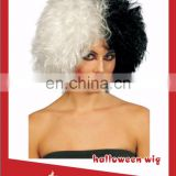 Half dyed white and half dyed black human hair lace front wig for women