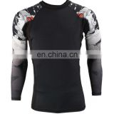 wholesale custom print long sleeve mma rash guards for men