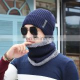 New Acrylic&velvet hat and scarf windproof earmuffs winter knitted hat and scarf set for men