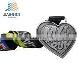 2018 years Zinc Alloy Custom wholesale heart shape sports antique silver die casting medals