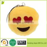 Custom Smiling Face With Heart-Shaped Eyes Yellow Bright Plush Toy Backpack Purse Accessory Keychain
