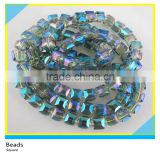 Crystal Jewelry 8*8 mm Square Loose Glass Beads Strands Wholesale One Strands Crystal Glass Beads On Sale