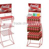 Metal wire Display Rack floor stand with 3 fixed wire shelves for display Coco drink bottles
