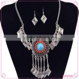 Fashion Jewelry Vintage Look National Style Turquoise Jewelry Set Long Chain Necklace Set