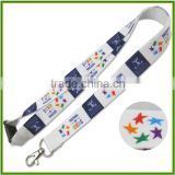 Professional custom white thermal transfer Ribbon manufacturers stars LOGO lanyard polyester soft and comfortable heat transfer