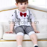 Korean Style Cute Baby Boys Summer Short Sleeve Cotton T-shirt & Grid Pants Baby Clothing Sets