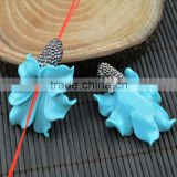 LFD-0018B Wholesale Blue Shell Flowers Pave Rhinestone Connectors Beads For Making Bracelet necklace