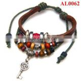 New Style genuine leather bracelet,Cheap bracelet with treasure box and key and beads AL0062