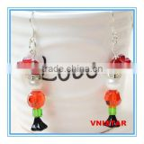 Vnistar hot seller wholesale hot glass&pearlbead charm Christmas earrings jewelry for gift and party VER003