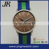 fashion nylon band wooden dial watch unique wood face watch Japan quartz watch