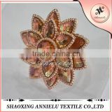 Wholesale fashion flower crystal beads napkin rings for weddings
