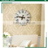 hot sale deep embossed pvc wallpaper, vanilla yellow gorgeous damask wall sticker roll , unusual wall mural brands