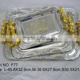High grade quality gorgeous silver stainless steel food service tray/serving plate/serving dish with golden handle