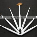 Compact Foldable Metal Handle Acrylic Nail Tip Art Brush Set flat brush 5 Pcs NO.2 4 6 8 10