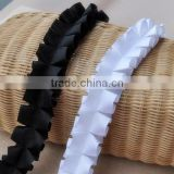 Black and white ruffle ribbon lace,cheap decorative lace trim for dress