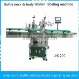 Date code printing and labeling machine wrap round Bottle neck & body labeler packing machine