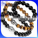 European Fashion Buddha Designs Black Agate Lava Bead Buddha Head Bracelet Wholesale