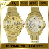 gold tone two dial design high quality japan movt ladies watch 2 years quality guarantee
