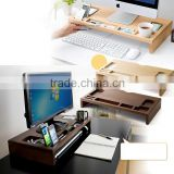 100% Eco Friendly Bamboo IMac compture desk new design multifunction phone holder pen holder home desk storage box                                                                         Quality Choice