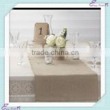 YHR#02 natural burlap hessian polyester banquet wedding wholesale table runner cloth overlay linen