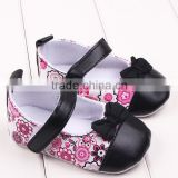 Wholesale children party dress shoes bow flowers PU leather christmas shoes toddler shoes