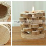 Round wooden glass candle stand with wood base