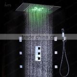 led ceiling shower 360*500mm hydro power rgb color change stainless steel square shower with wall mounted shower spray jets