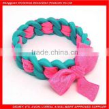 Fashionable hotsale braid silicone bracelet with ribbon promotion silicone bracelet with ribbon bowknot