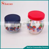 Flower decal printing honey jar glass food storage container with plastic lid