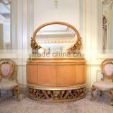 French New Classic Dining Room Furniture Buffet Sideboard Cabinet With Mirror Antique Floral Wooden Carved Commode Cupboard