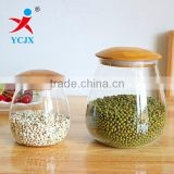 Round Glass Sealed Storage Jar / Borosilicate Glass Food Jar