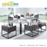 2015 American style synthetic aluminum rattan cube dining table and chair commercial outdoor furniture
