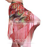 hot selling high quality handmade printed hip scarf tribal two layer tassel hip belt