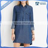 wholesale custom latest designs long line style fashion womens denim shirt dress ladies long sleeve jean shirts