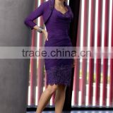 2 pieces purple deep v neck beaded knee length mother of the bride short dress