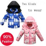 Winter kids 90% goose feather coat blue pink children winter coat wholesale with big white printed