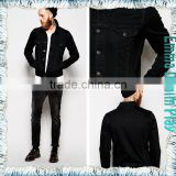 2015 New Brand Hot Sale Black Short Jean Mens Coats with Single Breasted