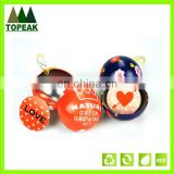 New product 2016 Custom design promotional ball shaped tin can for chocolate candy packing tin box