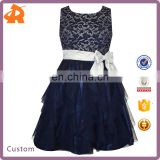 New Design Kids Dress Girls 7-16 Metallic Lace Mesh Ruffle For Girl Dress