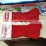 promotional santa stocking with custom imprint via embroidery