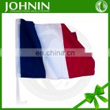 custom polyester france car mirror flag with pole for advertising