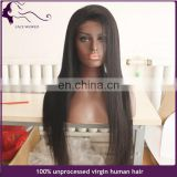 Top quality in stock indian virgin remy human hair natural hairline full lace wig