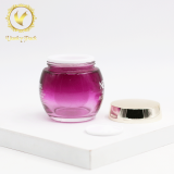 purple glass jar cosmetic jar 100g 80g 50g 30g glass jar with plastic inner for facial cream and mask