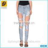 Fashion european style high quality ripped jeans wholesale china denim biker jeans trousers new model jeans pants for women