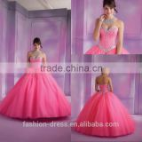 Hot Sale Beaded Sweetheart Pink Tulle Quinceanera Dress Cheap