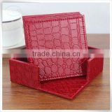 eco-friendly pu leather unique beverage drink coaster sets                                                                         Quality Choice