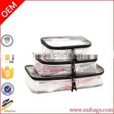 3-piece space saving luggage organization packing cube set-clear